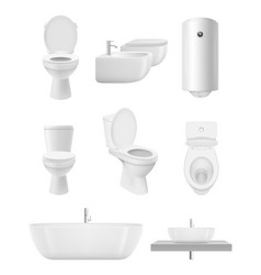 bathroom objects toilet sink shower washroom vector image