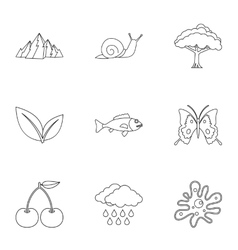 Beautiful nature icons set outline style vector