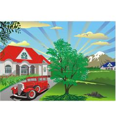 beautiful summer landscape - countryside village vector image