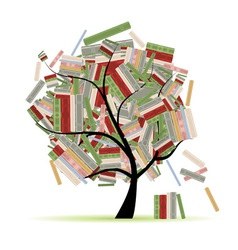 Books library on tree branches for your design vector