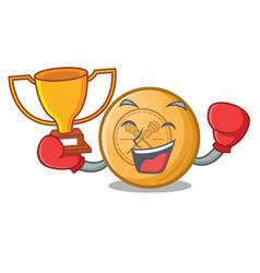 boxing winner lacrosse ball above wooden cartoon vector image