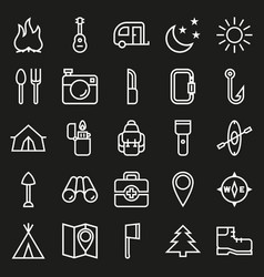 camping icons set on black background vector image