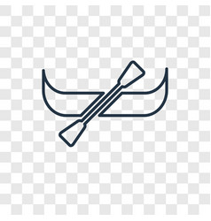 Canoe concept linear icon isolated on transparent vector