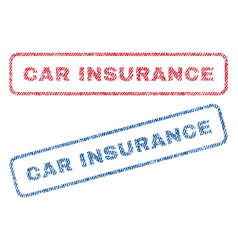 Car insurance textile stamps vector