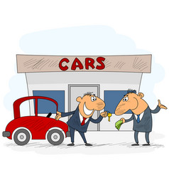 Car selling scene vector