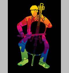 Cello musician orchestra instrument graphic vector