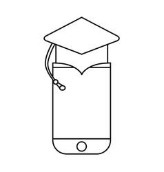 Cellphone device graduation hat vector