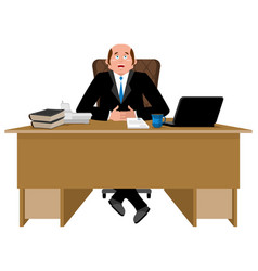 cheerful boss at work happy businessman at desk vector image
