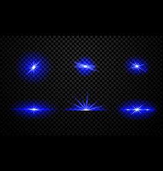 collection blue light effects with beams vector image