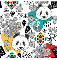 Colorful seamless pattern with cute chinese bear vector