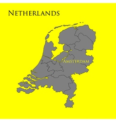 Contour map of Netherlands on a yellow 01 vector