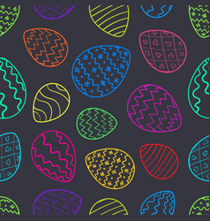contrast easter pattern with color outline eggs vector image