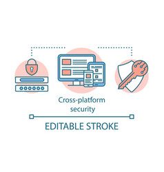 Cross platform cyber security concept icon vector