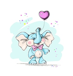 Cute and funny baby elephant and balloon vector