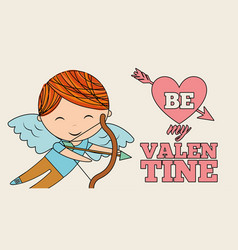 cute little boy cupid be my valentines celebration vector image