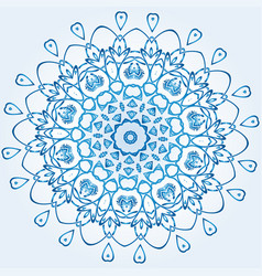 Decagonal blue and white snowflake on light blue vector