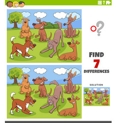Differences game with dogs characters group vector