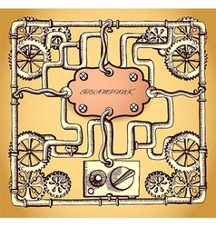 drawn industrial steampunk style frame vector image