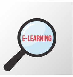 e-learning word magnifying glass vector image