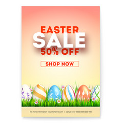 Easter sale ad poster with special holiday offer vector