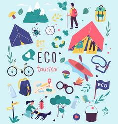 ecotourism poster design for nature destinations vector image
