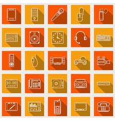 Electronic flat web icons vector image