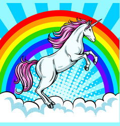 Fairy animal unicorn and rainbow pop art vector