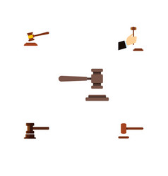 flat icon hammer set of hammer legal law and vector image