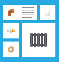 flat icon sanitary set of heater industry roll vector image