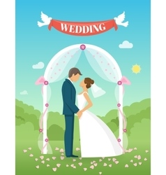 Flat Wedding Composition vector image