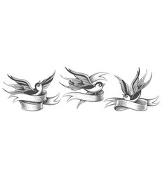 flying swallows with ribbon tattoo element set vector image