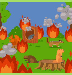 Forest wildfire with rodents vector