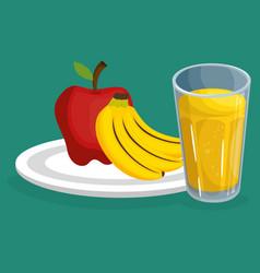 fresh fruits salad with juice healthy food vector image