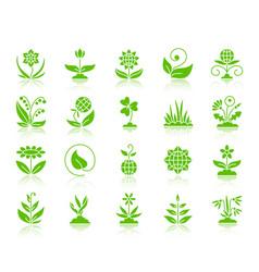 Garden color silhouette icons set vector
