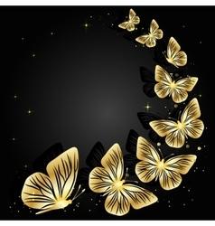 Gold butterflies on dark background vector image