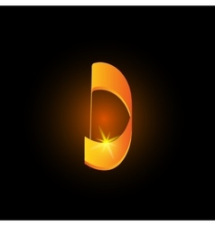 Golden arabic style letter d shiny latin alphabet vector