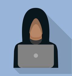 Hacker man on laptop icon flat style vector