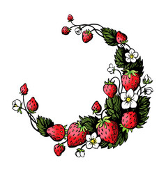Hand drawn wreath with strawberry and flowers vector