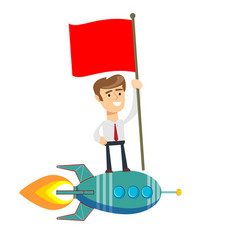 happy businessman holding flag and standing on vector image