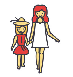 Happy mother with smiling daughter on vacation vector