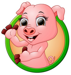 happy smiling little baby cartoon pig in round fra vector image