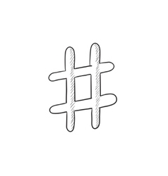 Hashtag symbol sketch icon vector