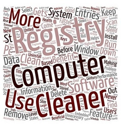How Do You Benefit From A Registry Cleaner text vector image