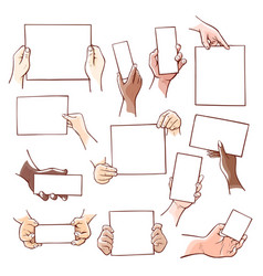 human hands holding blank paper sheets of vector image