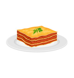 Italian lasagna dish with stacked pasta layers vector