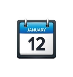January 12 calendar icon flat vector