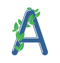 Letter a in eco style with a branch and leaves vector