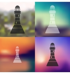 Lighthouse icon on blurred background vector