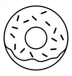 Linear Glazed ring doughnut with sprinkles vector