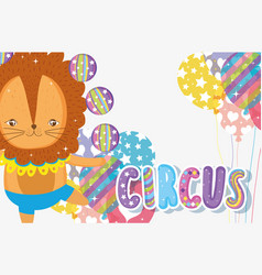 Lion doing juggle with balls and balloons vector